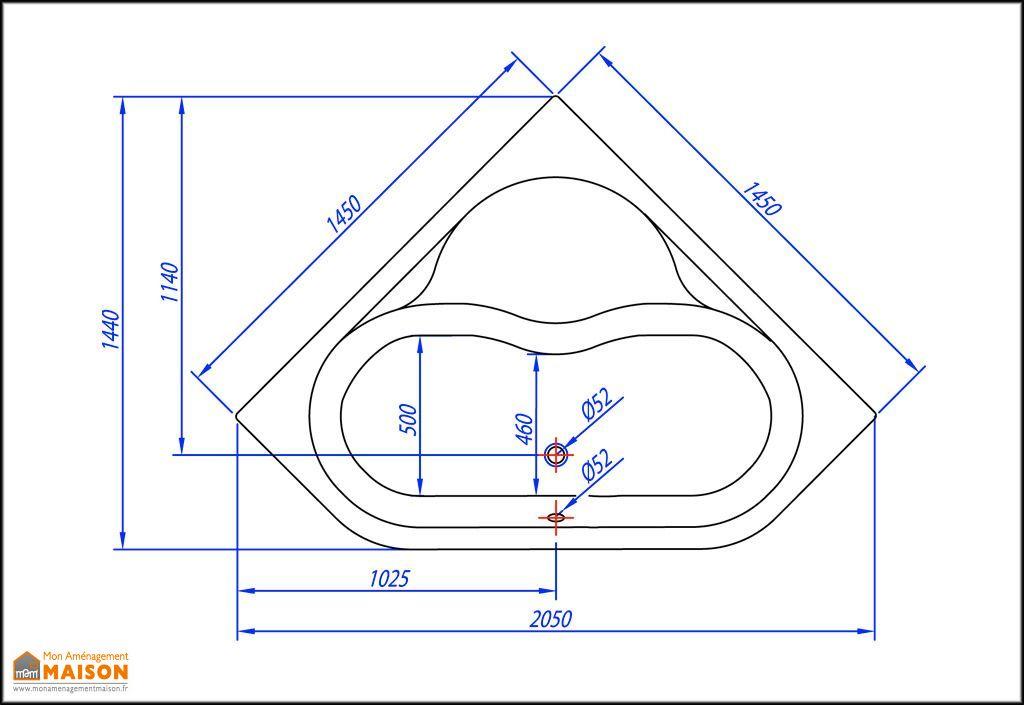 Baignoire d'Angle Acrylique Piano 145x145