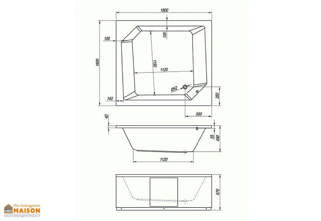 Baignoire Carrée Acrylique Samson 180x160
