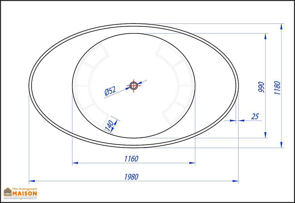 Baignoire Ovale en Polirock Tristan 196x117