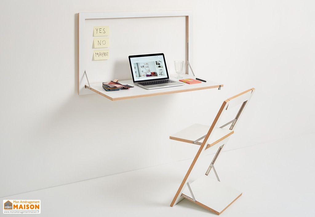 Secrétaire mural en bois Ambivalenz Fläpps avec chaise de bureau design