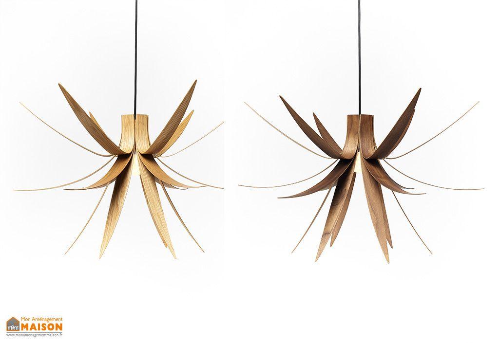 lampe suspension design en bois iris 75x45cm macmaster. Black Bedroom Furniture Sets. Home Design Ideas