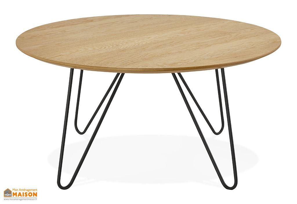 Table Basse en Bois de Chêne et Métal Kokoon Design Runda Naturel