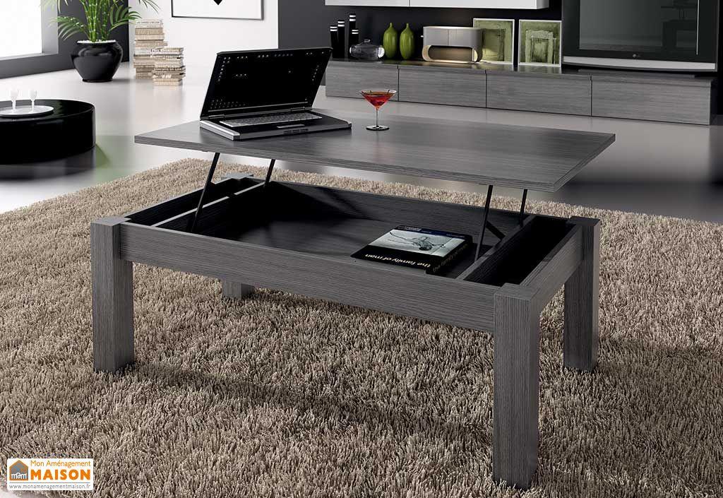 table basse elevable dublin 100x50x42 57cm grise ramis. Black Bedroom Furniture Sets. Home Design Ideas