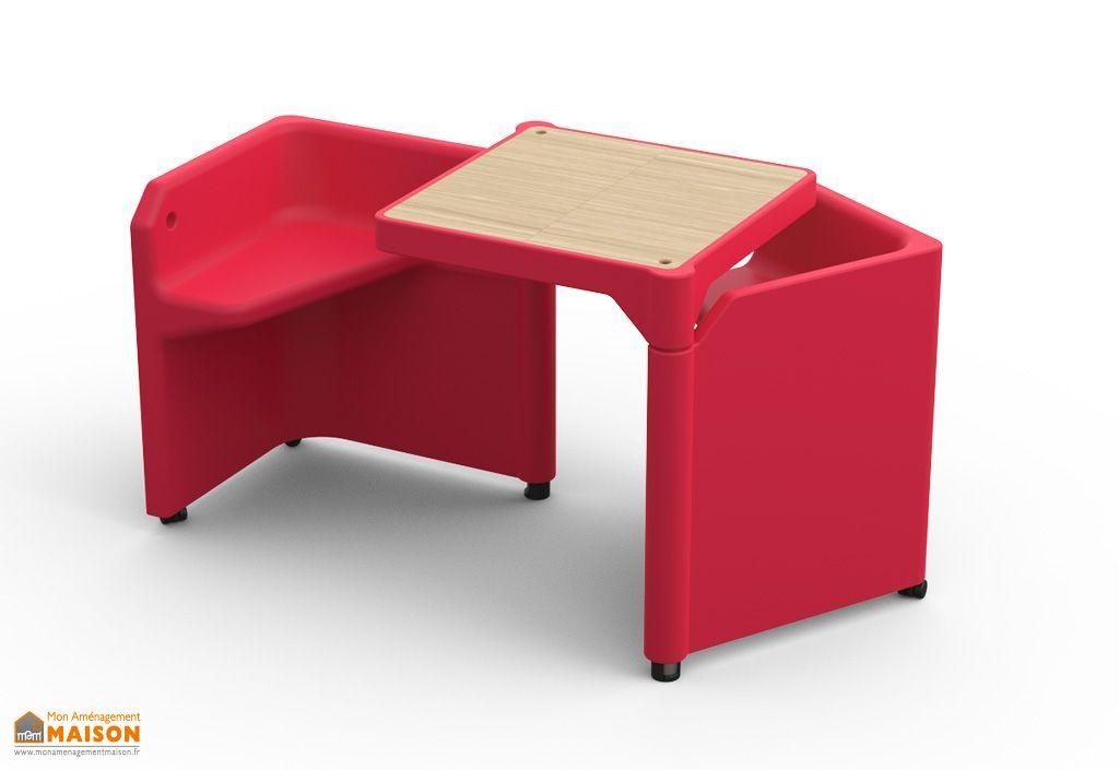 Table Modulable Be-Twin Framboise avec 2 Assises et 2 Rangements