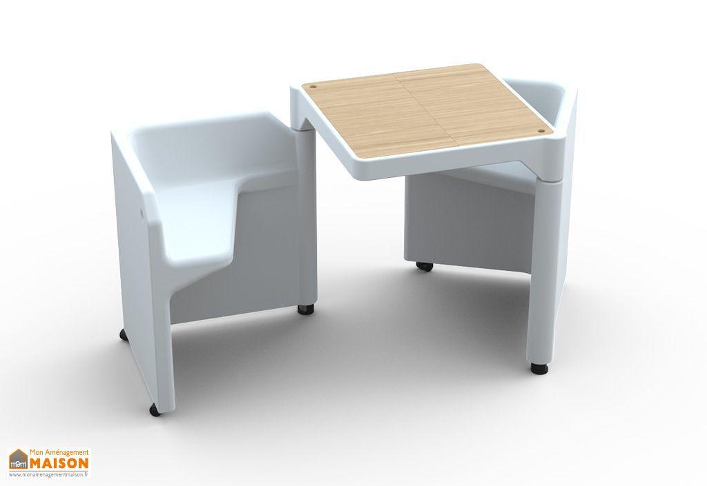 Table Modulable Be-Twin Blanche avec 2 Assises et 2 Rangements