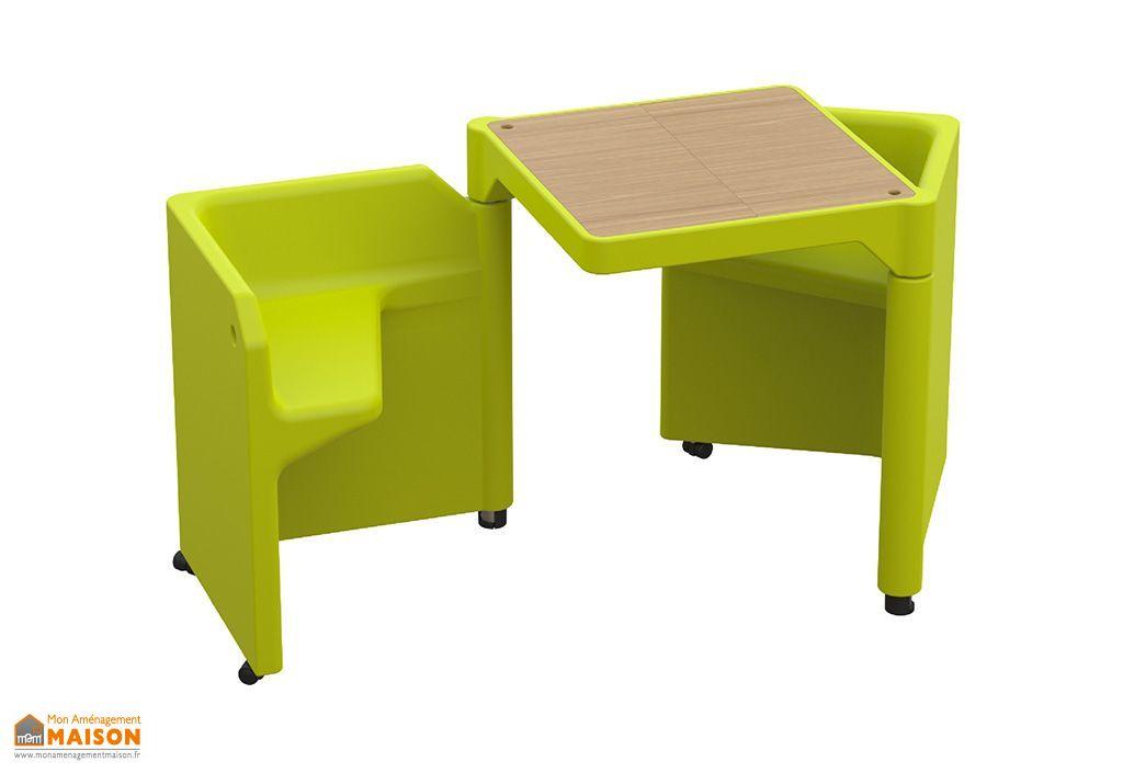Table Modulable Be-Twin Vert avec 2 Assises et 2 Rangements