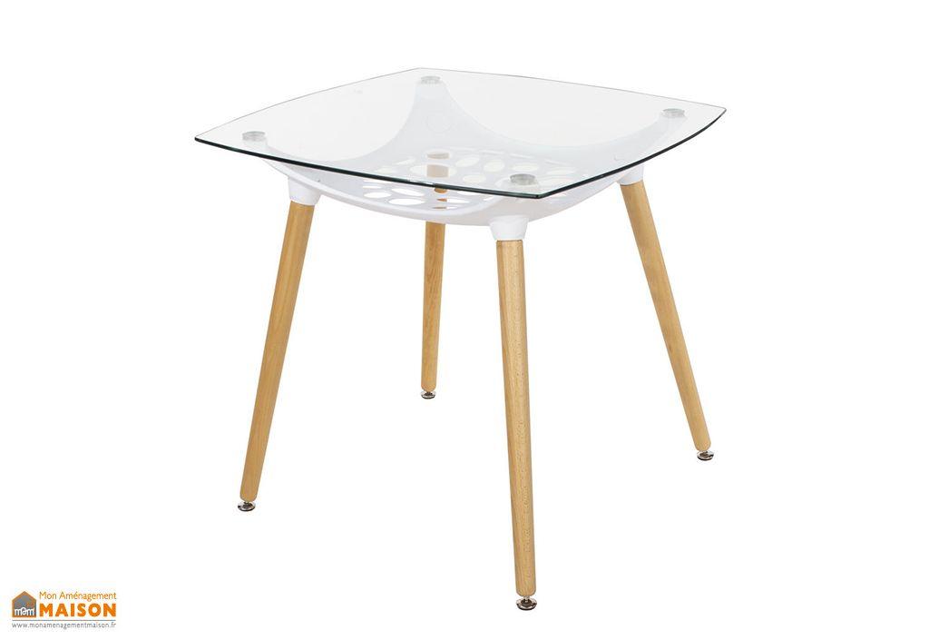 Table à Manger Carrée en Bois, Polypropylène et Verre Design Vicenza Asti 80 cm