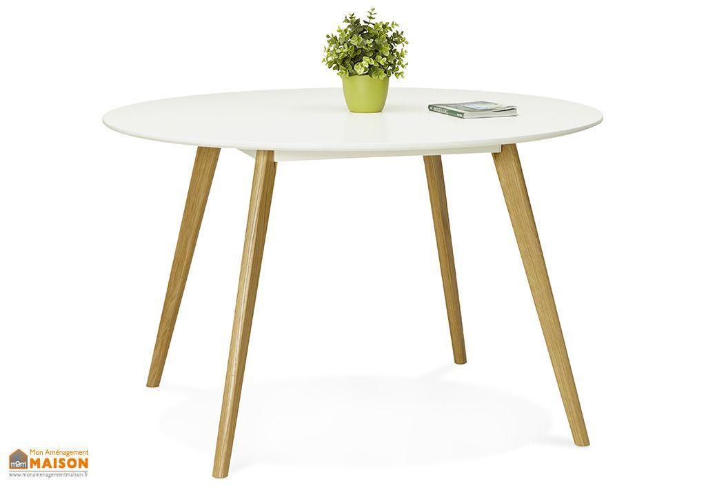 Table à Manger Ronde en Bois Kokoon Design Camden Blanc ø 120 cm