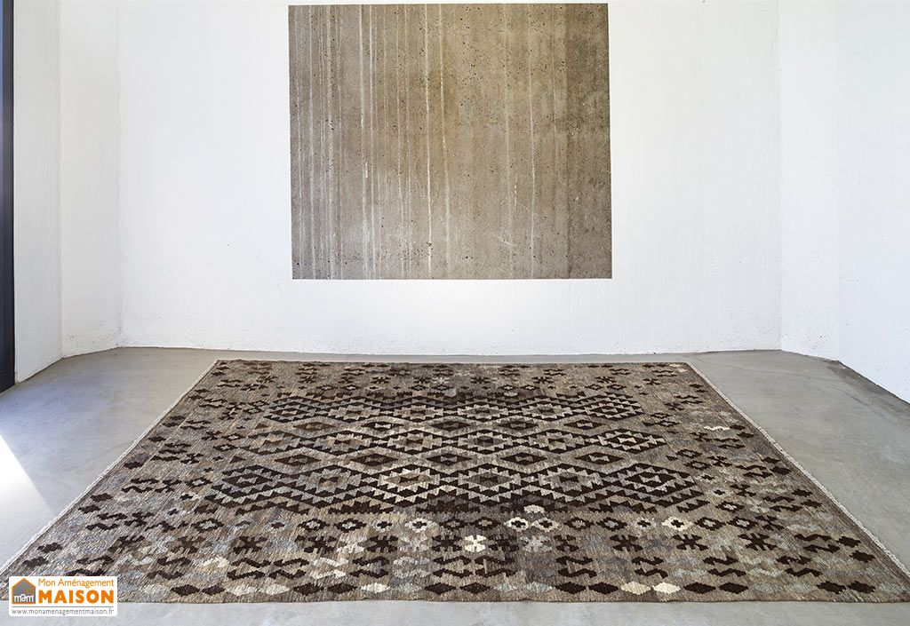 Tapis en Laine Afghane Kelim Gris/Marron/Noir