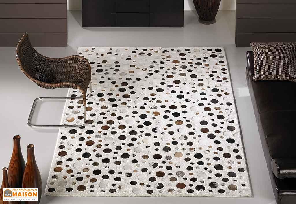 tapis en laine et peau rocking blanc 140x200cm carving. Black Bedroom Furniture Sets. Home Design Ideas