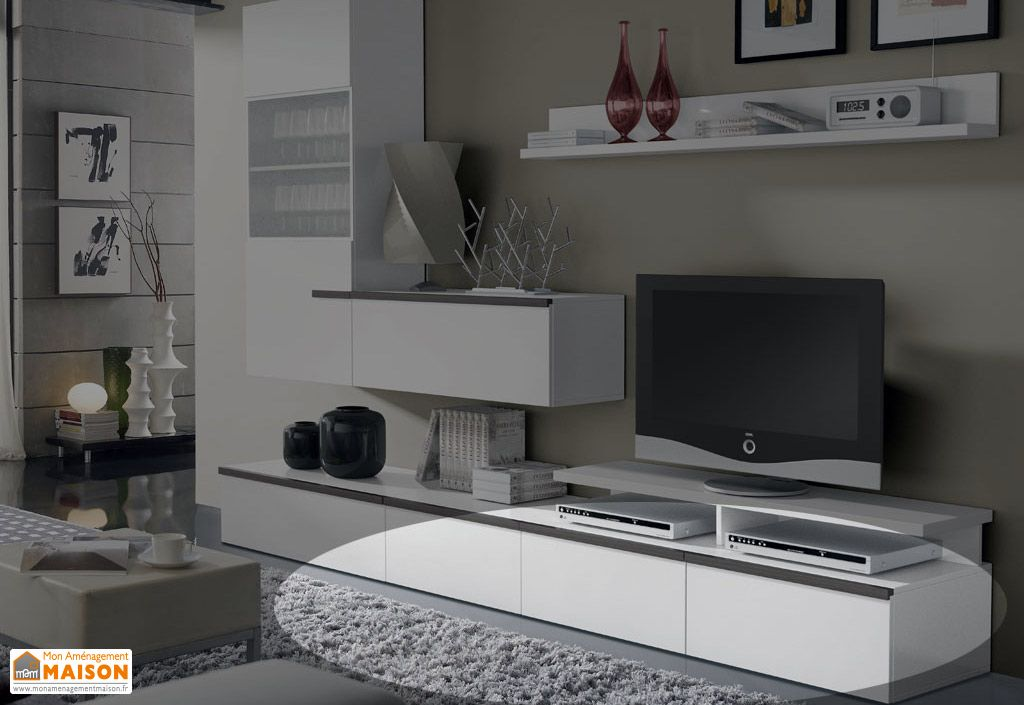 Caisson Meuble Tv 2 portes basculantes + 1 Tiroir W-3