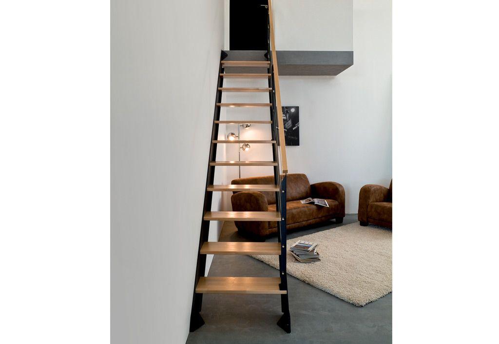Escalier Bois Droit : Escalier Droit Bois et Acier Adapt – Burger