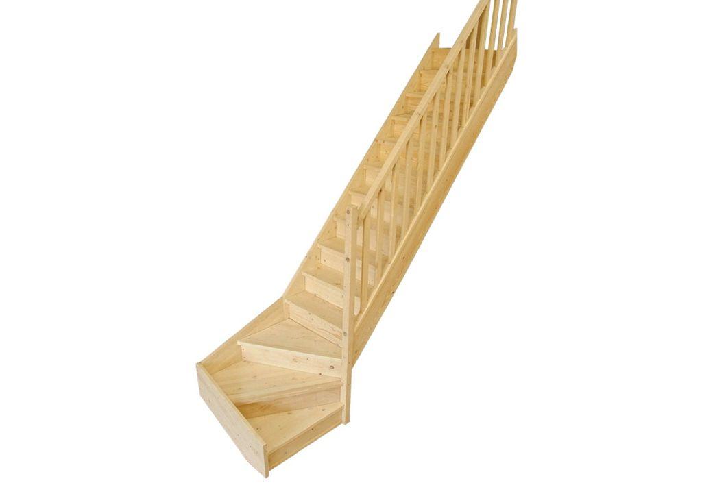 escalier quart tournant bas en sapin levigne. Black Bedroom Furniture Sets. Home Design Ideas